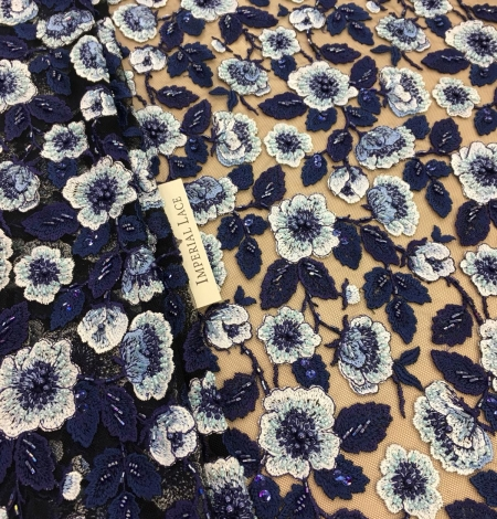 Blue beaded embroidery lace fabric. Photo 2