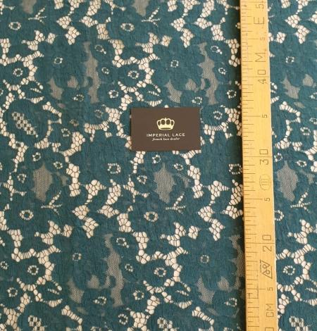 Dark green cotton guipure lace fabric. Photo 7