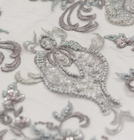 Grey beaded embroidery lace fabric. Photo 6