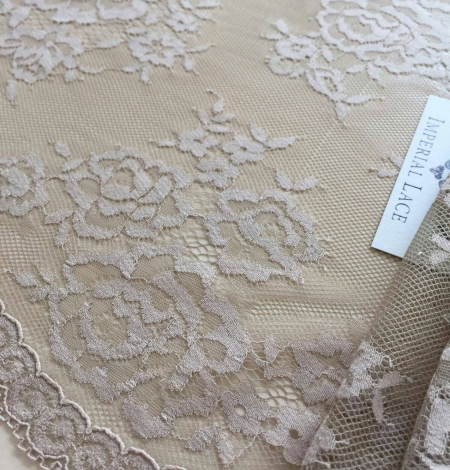 Dark nude lace fabric by the yard. Photo 3