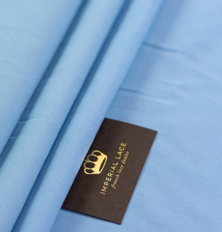 Blue silk with elastane crepe fabric. Photo 9