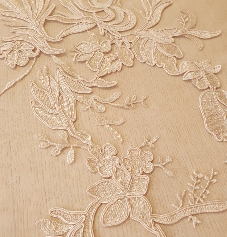 Beige sequin embroidery on soft tulle fabric. Photo 3