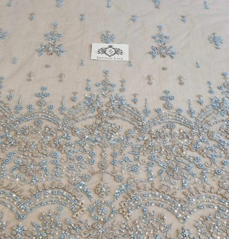 Grey blue beaded lace fabric. Photo 4