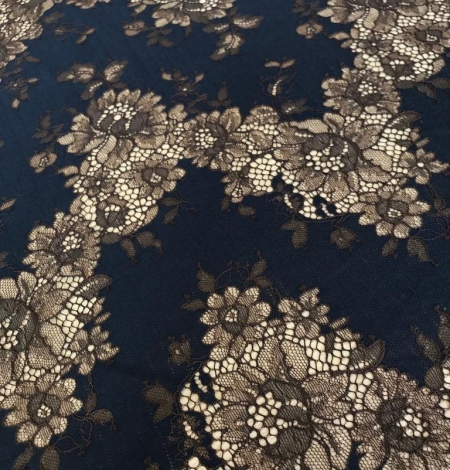 Dark blue with brown flower pattern lace fabric. Photo 4