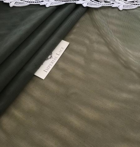 Dark khaki green tulle fabric. Photo 6