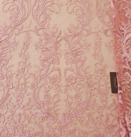 Raspberry pink floral pattern embroidery with sequins on soft tulle fabric. Photo 7