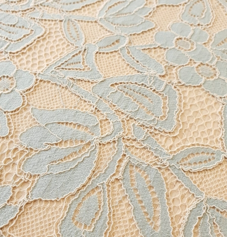 Beige with blue 70% cotton with 30% polyester guipure lace fabric . Photo 8