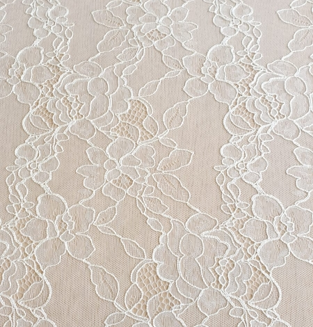 Ivory chantilly lace with thick thread lace fabric . Photo 6