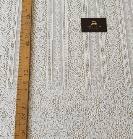 Ivory chantilly floral and stripes lace fabric. Photo 9
