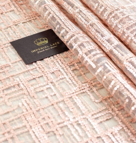 Rose gold sequins embroidered fabric . Photo 2