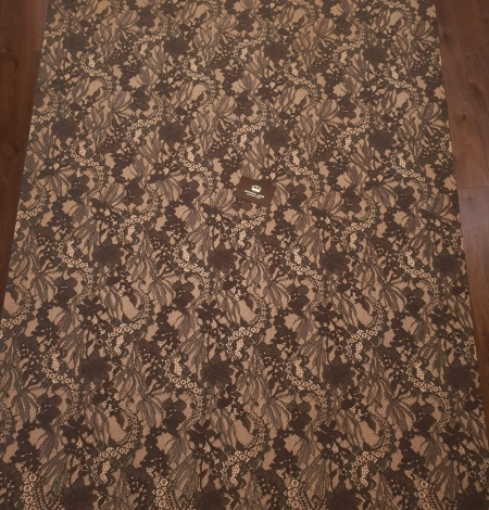 Greyish brown chantilly floral pattern lace fabric. Photo 8