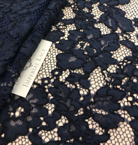 Dark blue lace fabric. Photo 6