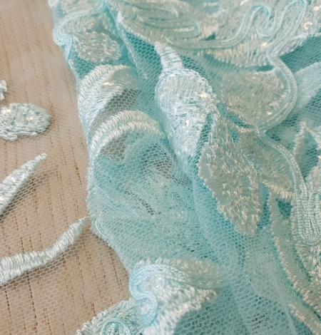 Blue floral pattern sequin embroidery on tulle fabric. Photo 7