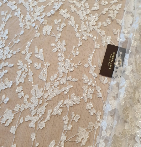 Ivory embroidery on tulle lace fabric. Photo 1