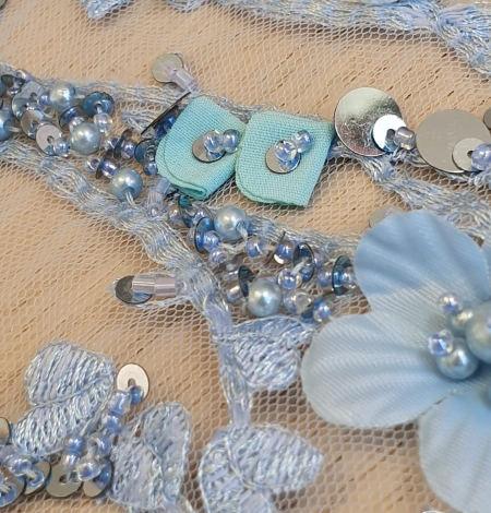 Blue 3D floral organic pattern on tulle fabric. Photo 4