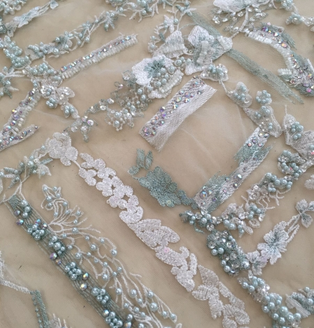 Mint green beaded embroidery . Photo 7