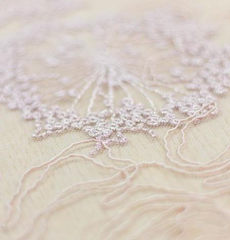 Old rose floral pattern embroidery with sequin on tulle fabric. Photo 6