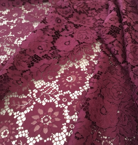 Wine red lace fabric. Photo 3
