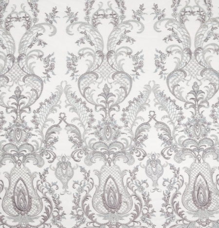 Grey beaded embroidery lace fabric. Photo 9