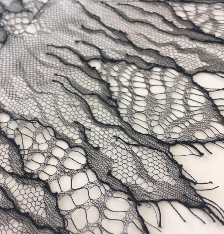 Black French Lace Fabric. Photo 3