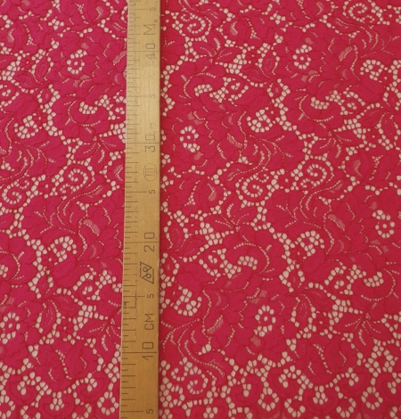 Raspberry pink 100% polyester floral pattern guipure lace fabric. Photo 8