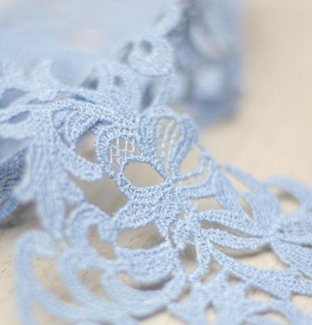 Light blue light macrame floral pattern lace trimming. Photo 1