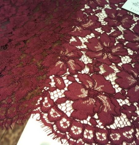 Wine red floral alencon lace fabric . Photo 2