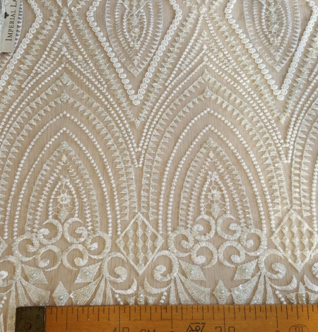 Off white embroidery lace fabric. Photo 6