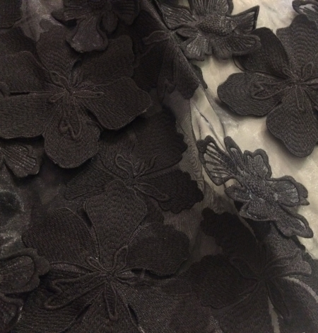 Black 3D big flower embroidery lace fabric. Photo 3