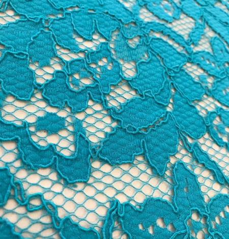 Blue French lace fabric. Photo 4
