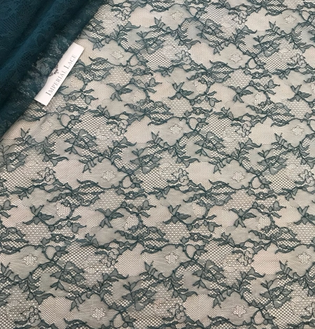 Deep teal green lace fabric. Photo 11