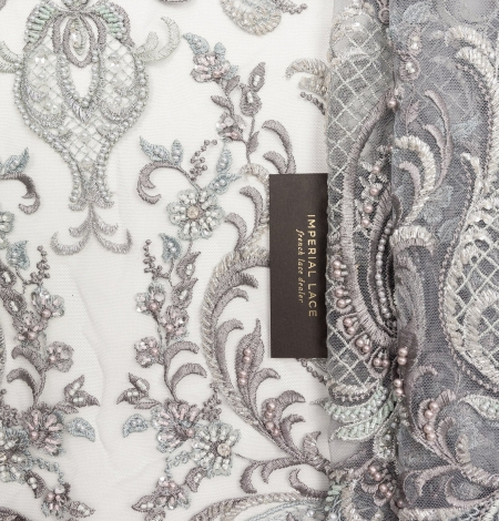 Grey beaded embroidery lace fabric. Photo 1