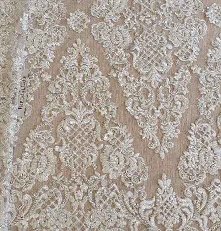 Luxury bridal beaded lace fabric. Photo 1