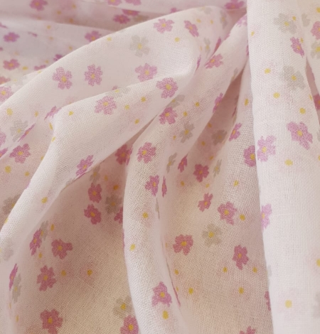 Light pink floral pattern thin batiste fabric. Photo 5