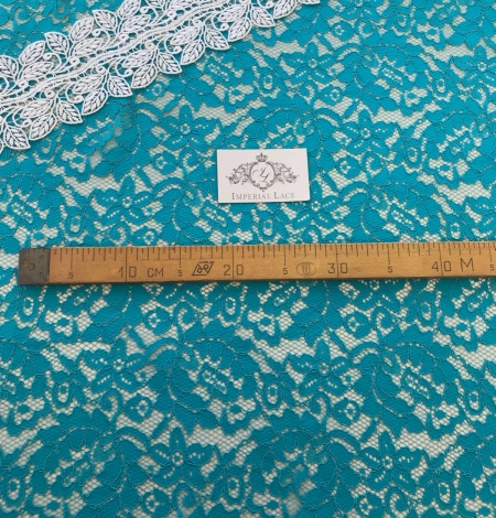 Blue French lace fabric. Photo 6