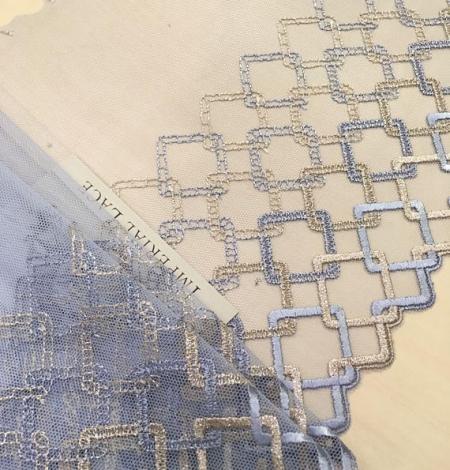 Blue with gold lingerie lace trim. Photo 2