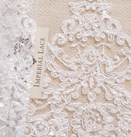 White Alencon lace fabric. Photo 1