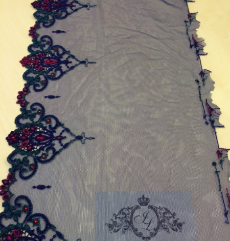 Blue with crystals elastic lingerie lace trim. Photo 3