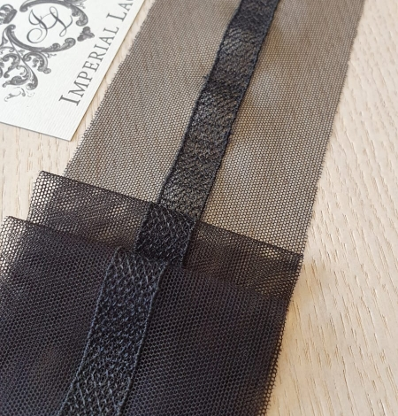 Black embroidery on tulle lace trimming. Photo 1