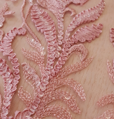 Raspberry pink floral pattern embroidery with sequins on soft tulle fabric. Photo 4