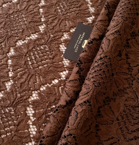 Brown floral guipure lace fabric. Photo 1