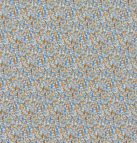 Multicolor nature pattern light cotton fabric. Photo 9