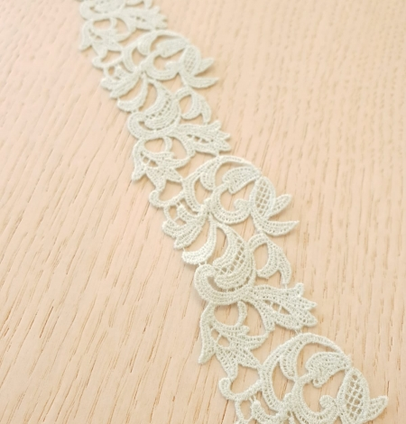 Mint green light macrame floral pattern lace trimming. Photo 3