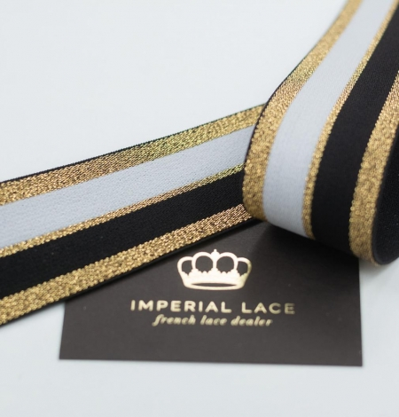 Black with gold and white elastic ribbon. Photo 1