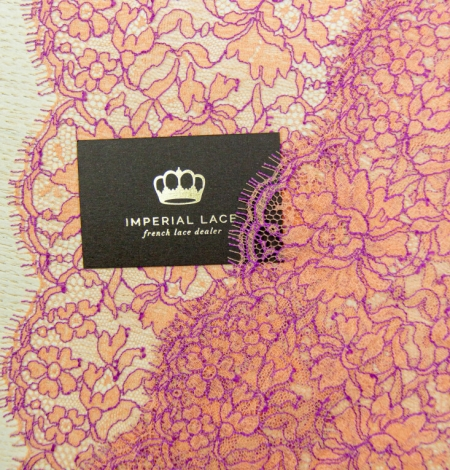 Orange with lilac floral pattern chantilly lace trim. Photo 4
