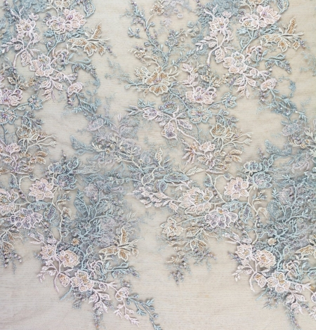 Greyish pink embroidery on grey tulle fabric. Photo 6