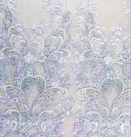 Greenish with purple embroidery on tulle fabric . Photo 6
