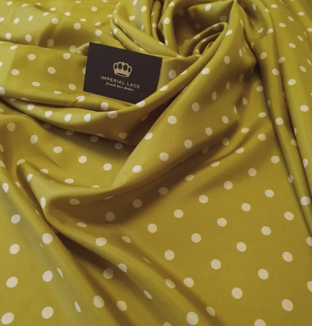 Olive green white dotted silk lining fabric. Photo 1