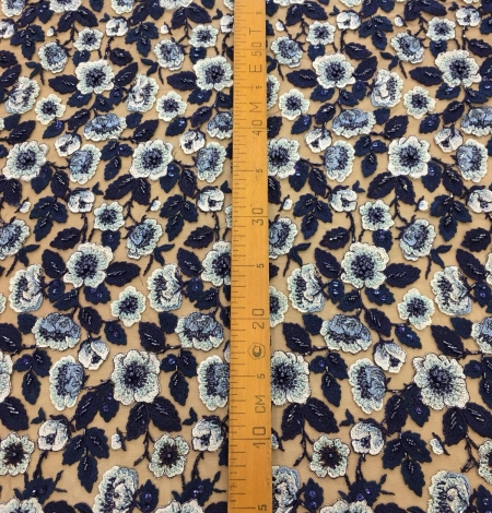 Multicolor beaded lace fabric. Photo 8
