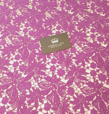 Lilac wool floral pattern macrame lace fabric. Photo 2